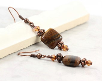 Boho Rustic Earrings Brown Tiger Iron Copper Crystal Woodland Fall Fashion