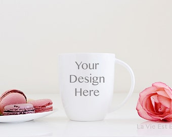 Styled Stock Photography - Mug stock photo - for creatives - for shop owners - french macaroons - roses - mug design - digital download