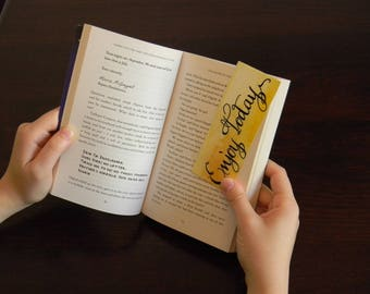 Yellow watercolor bookmark with inspiring quote