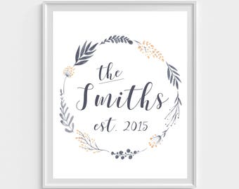 Last name wall print, last name printable, monogram print, last name wall art, last name wreath, downloadable last name print