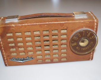 Vintage Packard Bell Transistor Radio, Model 6RT1, AM Band, 5 Transistors, Leather Case, Made In USA, Circa 1957