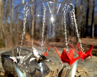 Hand-Folded Origami Crane Earrings with Dainty, Silver-Plated Chain and NICKEL FREE Sterling Silver Ear Wires, Japanese