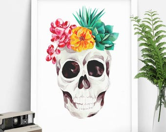 Skull decor. Mexican Skull. Floral print. Limited Edition. Skull drawing. Day of the dead. Special gift. Halloween decor.