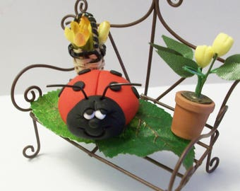 Ladybug on her miniature bench ,fairy garden, gnome or terrariums