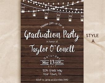 Rustic graduation invitation / graduation party invitation / printable invitation