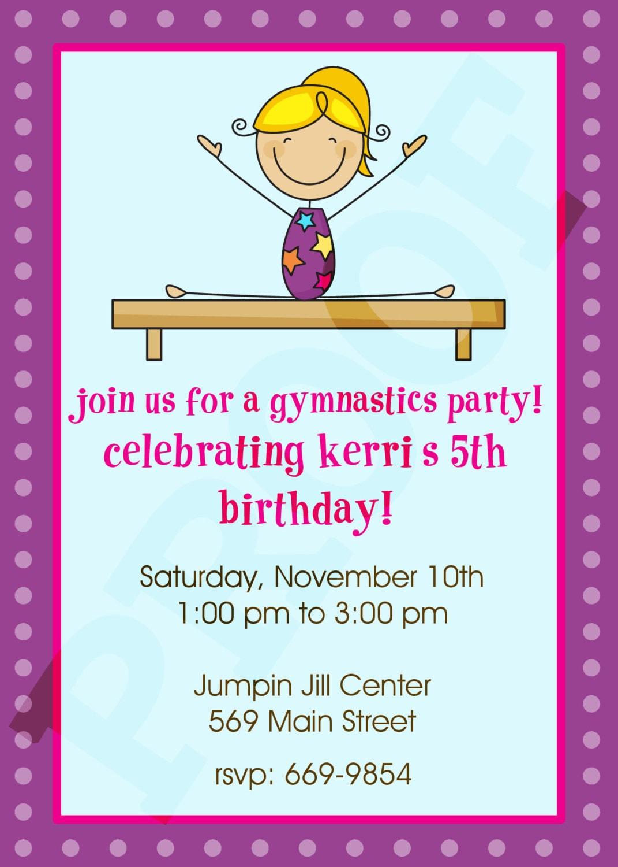Gymnastics Party Gymnastics Invitation Gymnastics Birthday