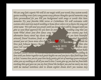 1 Lyric Wedding Gift Custom Map With First Dance Lyrics Art, Wedding Song Personalized Gift For Bride and Groom Engagement Gift Art Prints