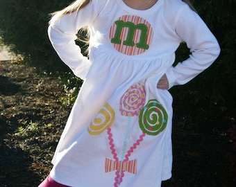 Toddler Dress - Personalized Dress with Lollipop Applique- You Choose Dress Color and Sleeve Length