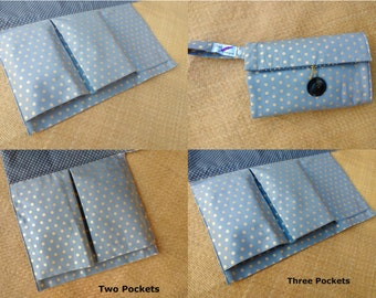 Handmade Nappy Wallet with waterproof Change Mat - Diaper Caddy - three or two pockets - grey with golden spots
