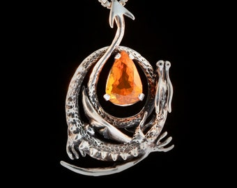 Silver Dragon Pendant Curled Dragon Necklace Brazilian Fire Opal Jewelry Gothic Fantasy Jewelry Sterling Silver Medieval Wyvern