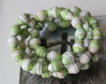 Eco friendly paper beads.  Green and white paper bead memory wire bangle.  Hand made and adjustable