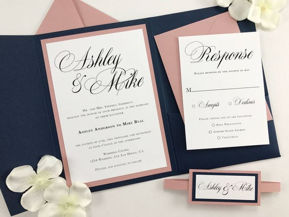 Pink And Navy Blue Wedding Invitations: Navy And Dusty Pink Pocket Folder Invites With Belly Band Navy