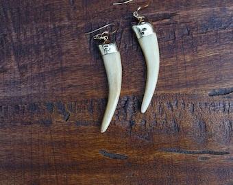 White Horn Earrings