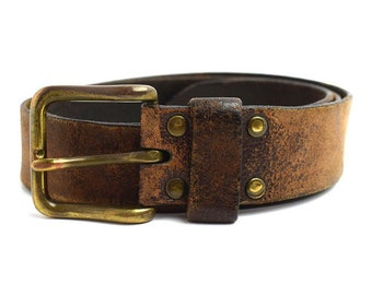 Vintage Mens Leather Belt Brown Size 34