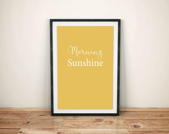Morning Sunshine Print Yellow, Wall Art, Morning Sunshine Poster, Room Decor, Wall Hanging, Happiness