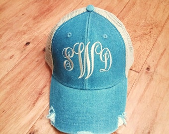 Monogram Trucker Hat  - distressed with tan mesh back - distressed baseball hat - embroidered 12 hat colors