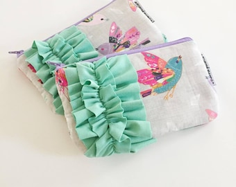 mini ruffle clutch --  linen sparrows