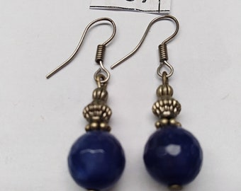 Blue Stone with Silver Design Earrings