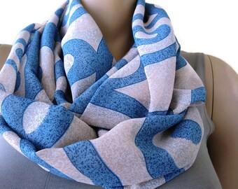 Blue and beige granite swirls Chiffon Infinity scarf cowl,  Necklace scarf -Tube version