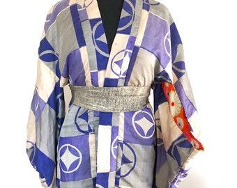 Blue with geometrical pattern vintage kimono jacket (haori)