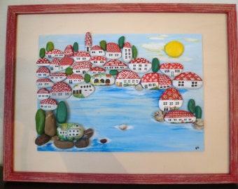 Pebble wall art, pebble image, pebble image, Collage, Dubrovnik, Croatia, painting