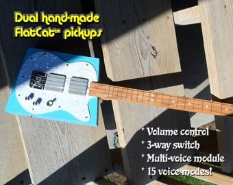 Blue Pearl 15-voice Cigar Box Guitar