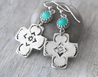 Turquoise and Silver Cross Earrings - Handcrafted Southwestern style Sterling Silver Cross Earrings