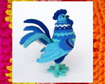 Amigurumi Pattern. Crochet Rooster Gordey. Amigurumis Bird tutorial. New year 2017 symbol. Easter crochet. Gzhel style. DIY. Knitting bird