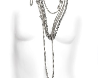 Multi-Strand Cascade Chain Necklace - Back Necklace Opera Length - Bling Layered Necklace - Gothic Glam - Punk Chain -Silver - LATE NIGHT