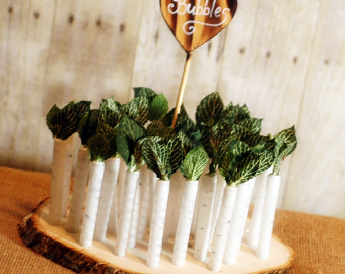 25 White Birch Twig Style Wedding Bubble Favors with Base and Heart Sign White Birch
