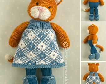 Toy knitting pattern for a girl cat with a plaid dress