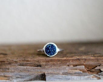 Druzy Ring Gold , Rose Gold , Sterling Silver , Cobalt Blue Quartz Stone , Bezel Wrapped Solitaire Cocktail Rings