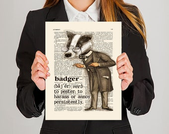 "Lawyer print - ""To Badger the Witness- Definition"" - 11"" x 14"", Lawyer Gift, Funny Lawyer print, Pass the Bar gift, Law Office Decor"