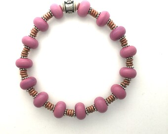 Lamp Work Bracelet in Pink Glass Small  6  Inches