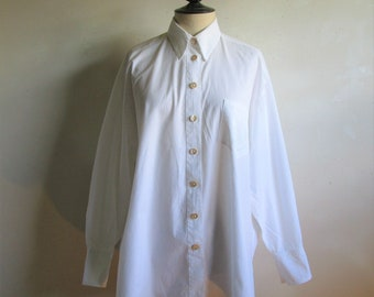 90s Bazar de Christian Lacroix Shirt White Cotton Oversized Boyfriend 1990s Designer Oxford Button Top Lrg-XL 42EU
