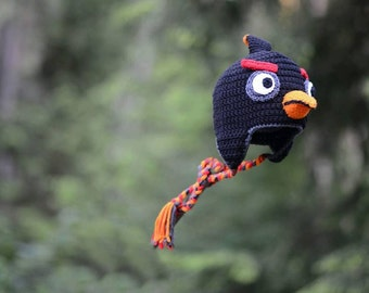 Angry Birds, Crochet Hat, Bomb, Angry Birds Bomb, Newborn Hat and Photo Prop