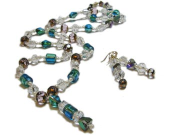 Eye-Catching Multi-Colored Hand Crafted Artisan Glass Beaded Necklace and Earring Set By SoniaMcD