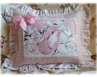 PINK FRUIT - Retro Tablecloth - Porch Pillow - Cottage Pillow Vintage