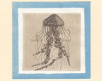 """JELLYFISH,  8"""" x 8"""" Art Print on 80lb fine art paper from handprinted intaglio etching and monoprint"""