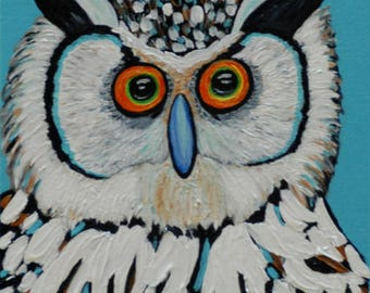 "Owl 2 - 8""x10""Original Horned Owl Painting by Sarah Wynne, Owl Art, Owl Wall Art, Owl Decor"