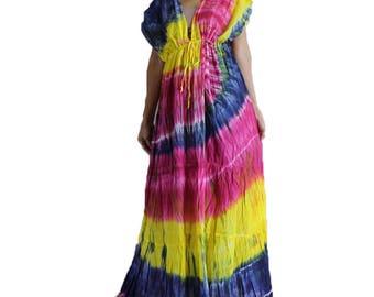 Beach Hippie Gypsy 100 % Tie Dye Cotton Long Maxi Kimono Summer Dress Plus size (TD 328)