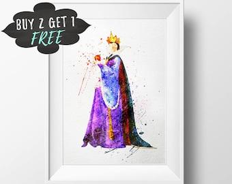 Disney Villain Evil Queen Wall Art Print, Snow White Wicked Queen Art Print Poster, Disney Evil Queen Printable Watercolor Instant Download