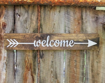 Welcome Sign Arrow Welcome Sign Rustic Wooden Arrow Sign Rustic Home Decor Outdoor Decor Rustic Cabin Decor Arrow Decor Directional Sign