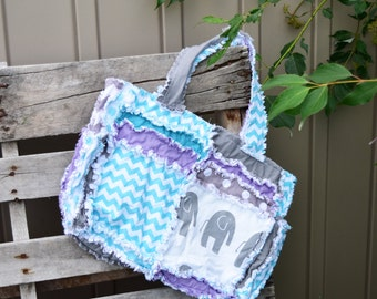 Purple Elephant Purse Newborn Baby Gift - Turquoise Diaper Bag Handmade Baby Gift - Chevron Diaper Bag Gray Rag Purse - Rag Quilt Purse