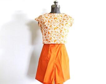 60s Shorts / Orange Shorts / 1960's Bermuda Shorts