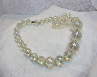 Iridescent Clear Lucite Ball Bead Necklace with Hidden Clasp