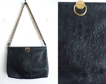 textured black faux leather bag 80s bueno fake leather handbag shoulder purse with gold hardware