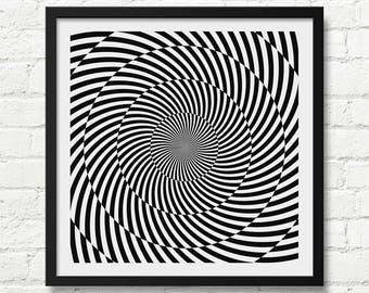 Black And White Optical Illusion Art, Mod Op Art Print, Modern Decor, Abstract Art, Abstract Pattern, Optical Abstract Print, Trippy Print