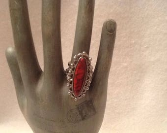 Vintage Adjustable Ring Womens Jewelry Oblong Filigree Silver