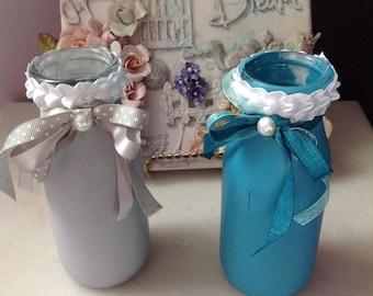 2 Milk Bottles, Home Decore, Vases, Gray and Blue Bottles